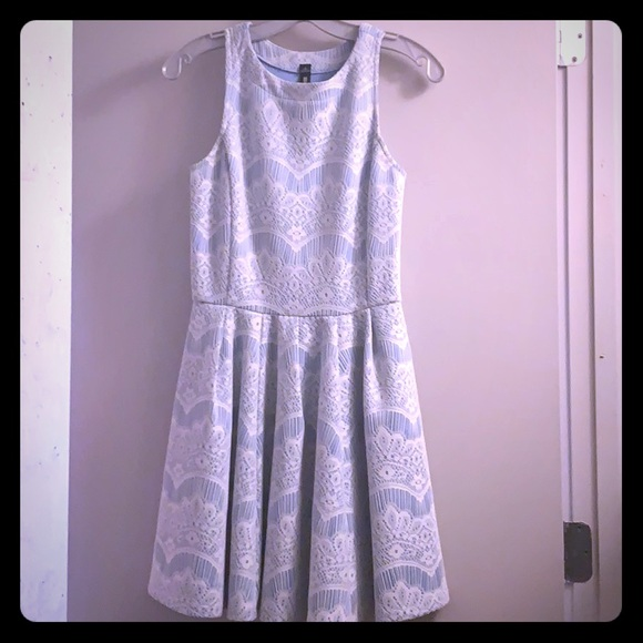 Light Blue With White Lace Dress